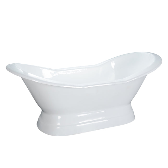 "Oxnard 72"" Cast Iron Double Slipper Tub on Base"
