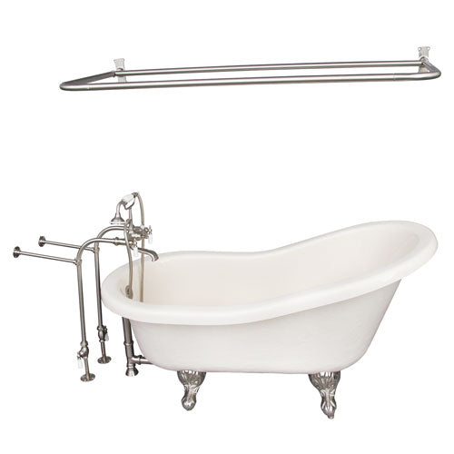 Estelle 60″ Acrylic Slipper Tub Kit in Bisque – Brushed Nickel Accessories
