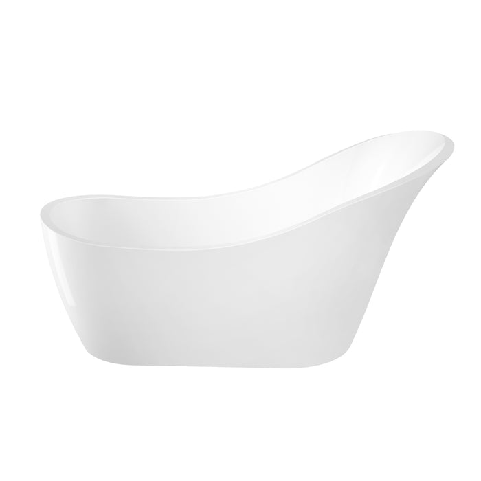 "McGuire 70"" Acrylic Slipper Tub with Integral Drain and Overflow"
