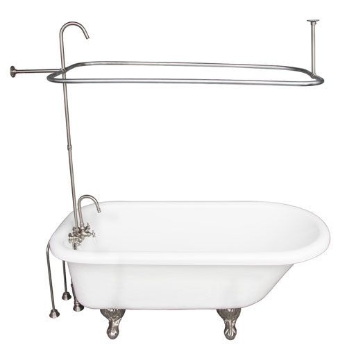 Atlin 67″ Acrylic Roll Top Tub Kit in White – Brushed Nickel Accessories
