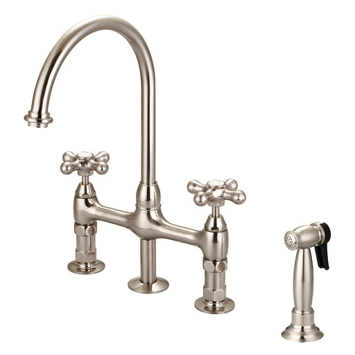 Harding Kitchen Bridge Faucet with Sidespray and Metal Button Cross Handles