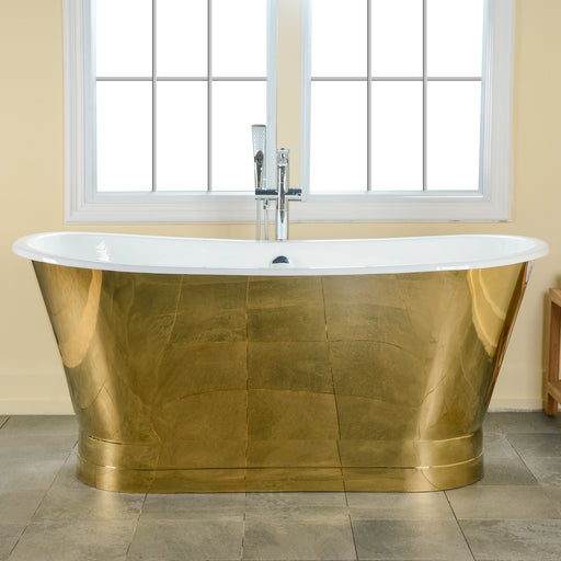 "Nicolas 67"" Cast Iron Bateau Tub with Polished Gold Steel Skirt"