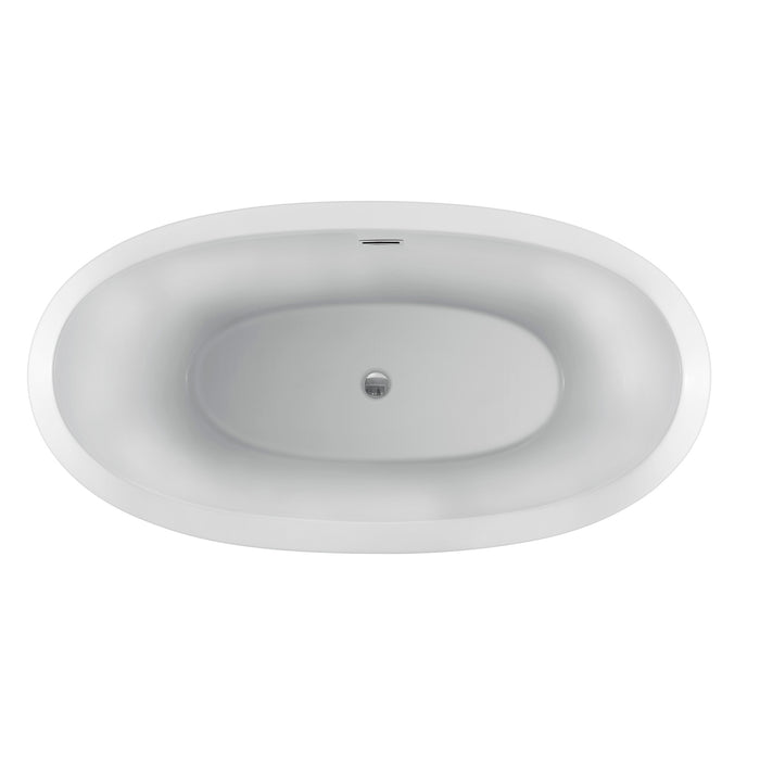 "Naomi 67"" Acrylic Double Slipper Tub with Integral Drain and Overflow"