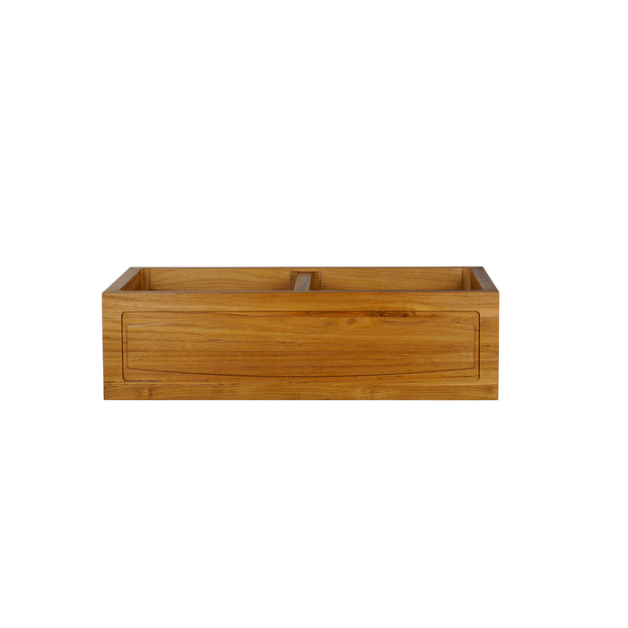 "Luana 36"" Arched Double Bowl Teak Kitchen Sink"