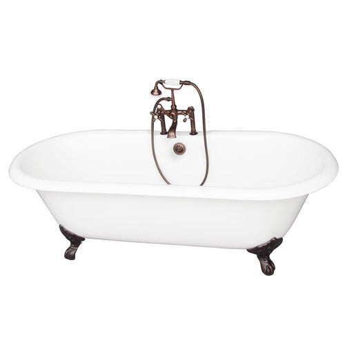 Columbus 61″ Cast Iron Double Roll Top Tub Kit – Oil Rubbed Bronze Accessories