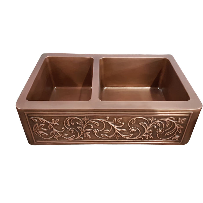 Cilantro Offset Double Bowl Copper Farmer Sink
