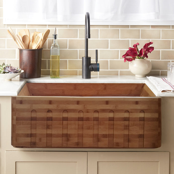 Lydra Single Bowl Bamboo Farmer Sink