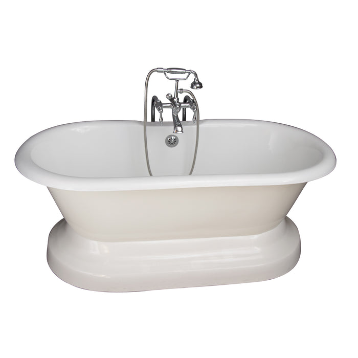 "Columbus 61"" Cast Iron Double Roll Top Tub Kit-Polished Chrome Accessories"