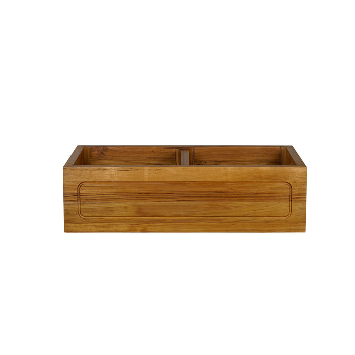 "Kolea 36"" Frame Double Bowl Teak Kitchen Sink"