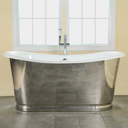 "Josephine 66"" Cast Iron Bateau Tub with Polished Stainless Steel Skirt"