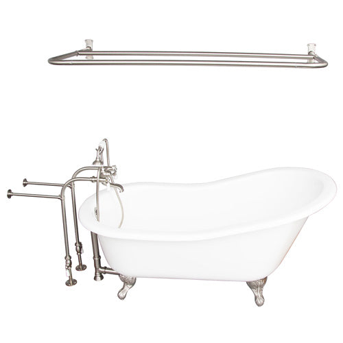 Griffin 61″ Cast Iron Slipper Tub Kit – Brushed Nickel Accessories