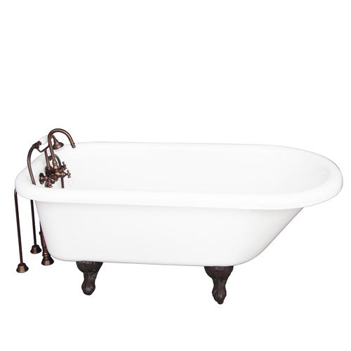 Asia 67″ Acrylic Roll Top Tub Kit in White – Oil Rubbed Bronze Accessories