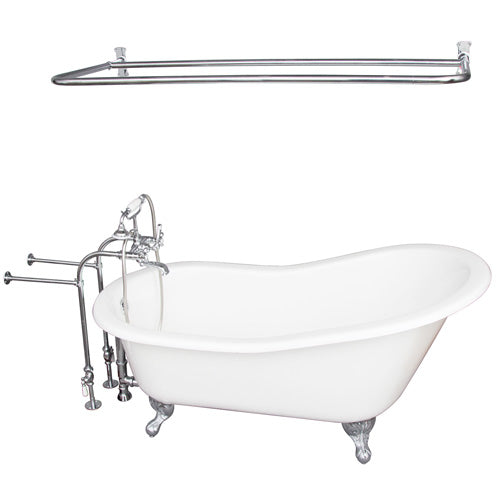 Icarus 67″ Cast Iron Slipper Tub Kit – Polished Chrome Accessories