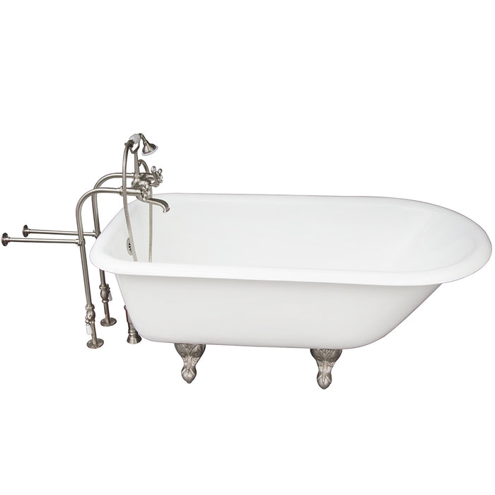 Brocton 68″ Cast Iron Roll Top Tub Kit – Brushed Nickel Accessories