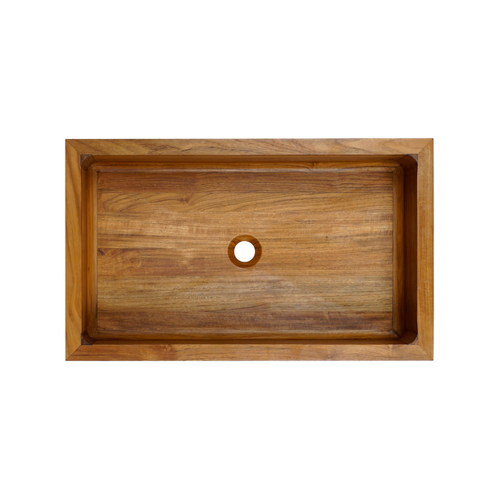 Malaki Banded Single Bowl Teak Farmer Sink