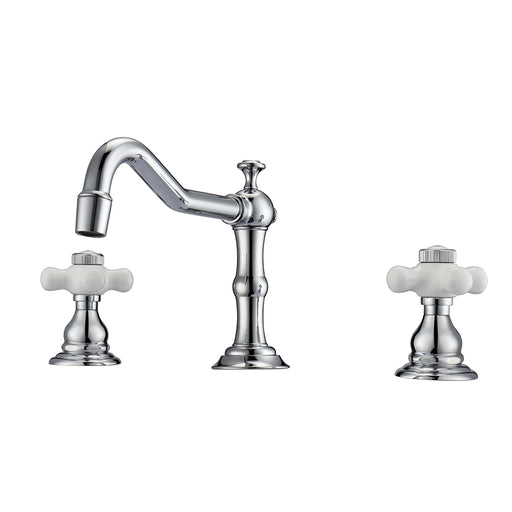 Roma Widespread Lavatory Faucet  with Porcelain Cross Handles