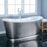 "Laurent 72"" Cast Iron Bateau Tub with Brushed Stainless Steel Skirt"