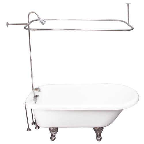 Atlin 67″ Acrylic Roll Top Tub Kit in White – Polished Chrome Accessories