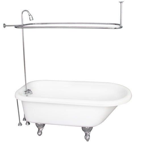 Asia 67″ Acrylic Roll Top Tub Kit in White – Polished Chrome Accessories