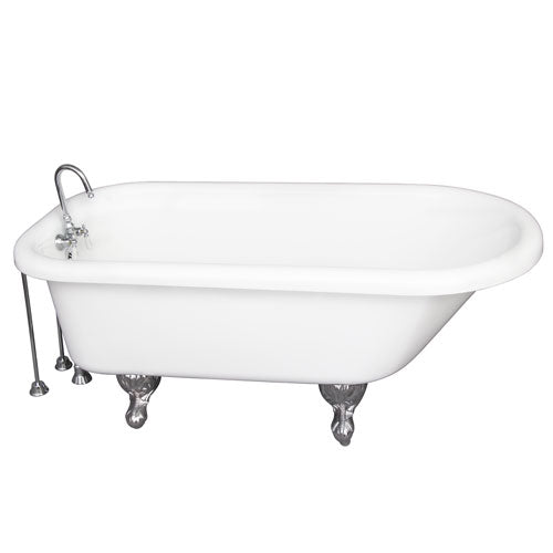 Anthea 60″ Acrylic Roll Top Tub Kit in White – Polished Chrome Accessories