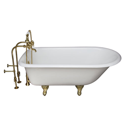 Brocton 68″ Cast Iron Roll Top Tub Kit – Polished Brass Accessories