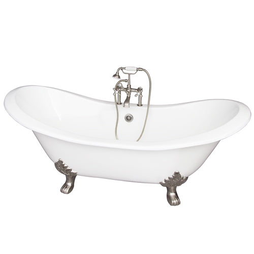 Marshall 71″ Cast Iron Double Slipper Tub Kit – Brushed Nickel Accessories