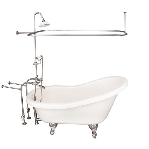 Fillmore 60″ Acrylic Slipper Tub Kit in Bisque – Brushed Nickel Accessories