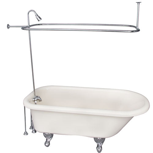 Anthea Acrylic Roll Top Tub Kit in Bisque – Polished Chrome Accessories