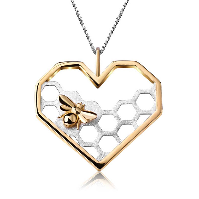 pendentif-bee-my-love-real-925-sterling-silver-fine-jewelry-honeycomb-home-guard-18k-gold-love-heart-shape-pendant-without-chain-for-women - Honessy
