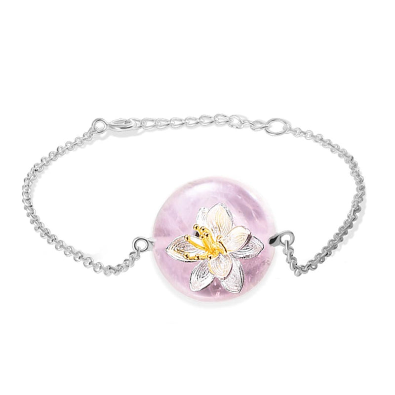 Bracelet LOTUS - Aventurine Rose - Real 925 Sterling Silver Natural Stones Creative Handmade Fine Jewelry Lotus Whispers Bracelet for Women Brincos - Honessy