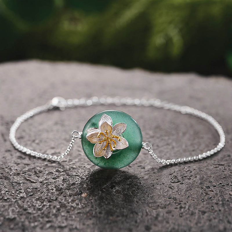 Bracelet LOTUS - Aventurine Verte - Real 925 Sterling Silver Natural Stones Creative Handmade Fine Jewelry Lotus Whispers Bracelet for Women Brincos - Honessy