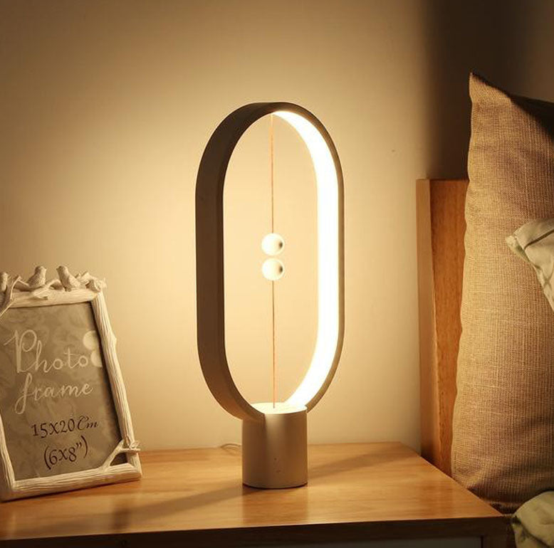 L'Original - Lampe Magnétique - Balance Lamp LED Night Light USB Powered Home Decor Bedroom Office Table Night Lamp Novel Light Gift - Noir, Blanc, Rouge, Bois