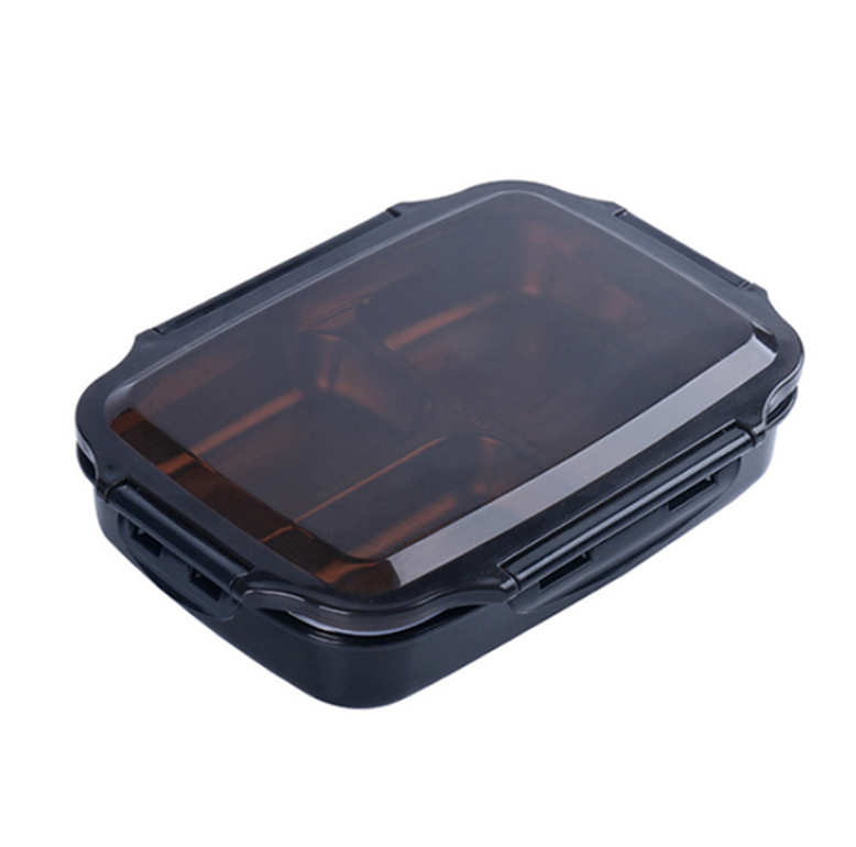 Lunch Box Japonaise 3 Compartiments Acier Inoxydable, 1,2L - Noir, Bleu, Rose, Vert Lunch box Stainless Steel Portable Picnic office School Food Container With Compartments Microwavable Thermal Bento Box  Black, Blue, Pink, Green