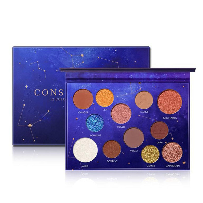 CONSTELLATION - Palette 12 Couleurs de Fards à paupières - Constellation Palette 12Colors Eye Shadow Makeup Nude Colors Shade Of Palette Glitter Eyeshadow - Honessy