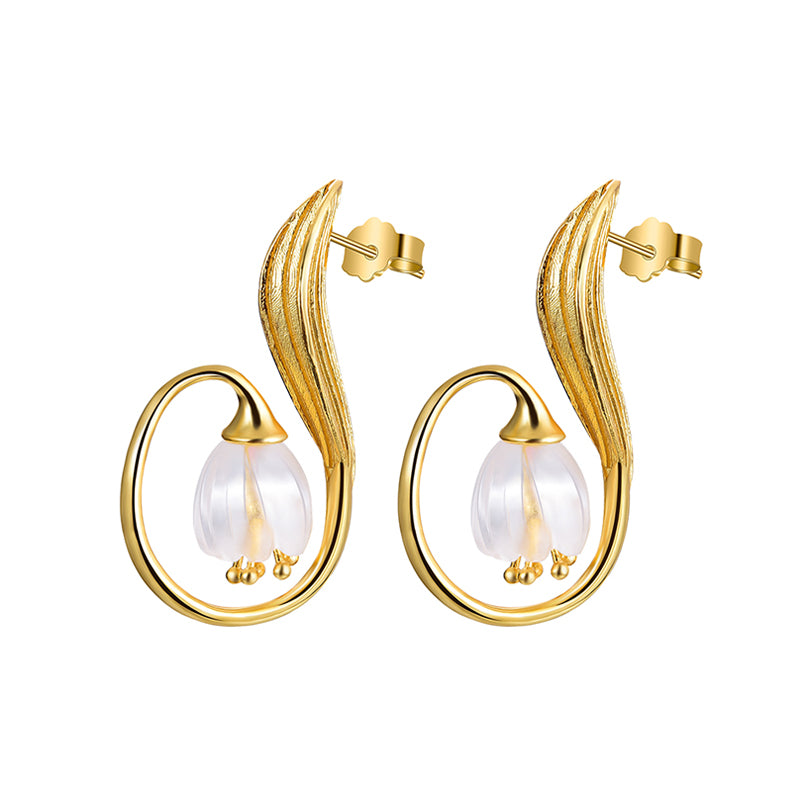 Real 925 Sterling Silver Handmade Fine Jewelry Natural Crystal Gold Lily of the Valley Flower Drop Earrings for Women