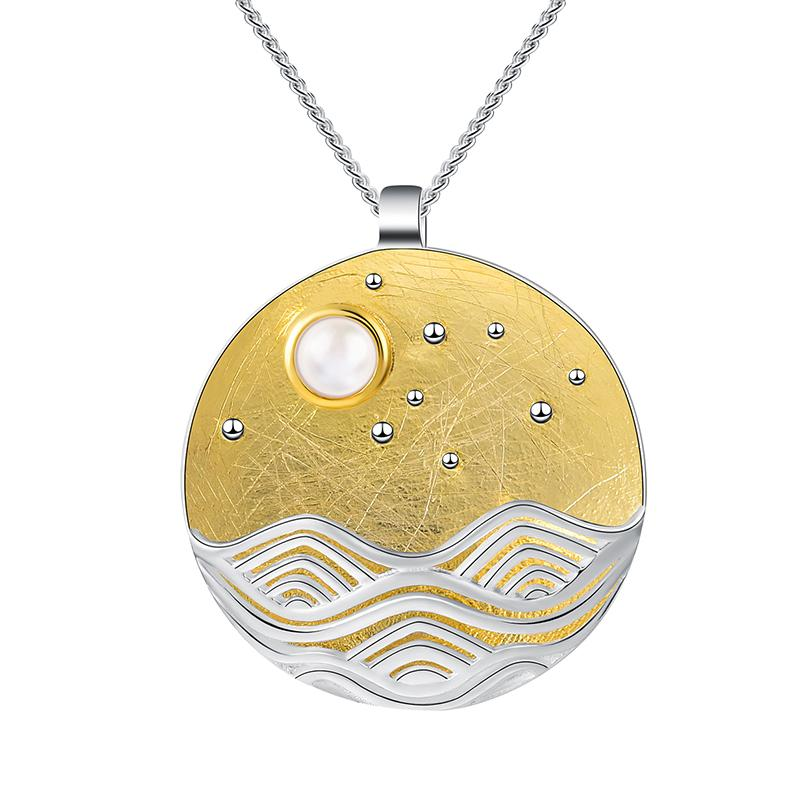 Pendentif LA PLEINE LUNE - Ciel Étoilé Plaqué Or - Real 925 Sterling Silver Natural Shell Designer Fine Jewelry The Moonlight Pendant without Chain Accessorizes for Women - Honessy