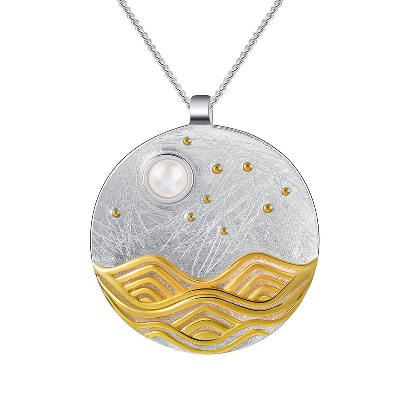 Pendentif LA PLEINE LUNE - Vague Plaquée Or - Real 925 Sterling Silver Natural Shell Designer Fine Jewelry The Moonlight Pendant without Chain Accessorizes for Women - Honessy