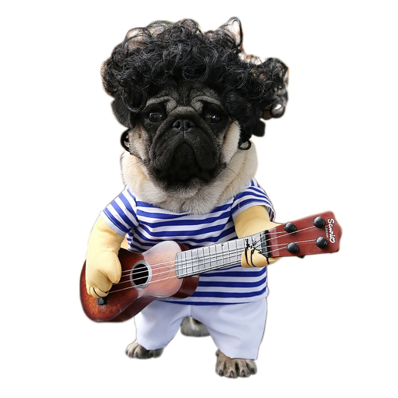 Funny Pet Guitar Player Cosplay Dog Costume Guitarist Dressing Up Party Xmas Halloween New Year Clothes for Dog Cats Plus Wig