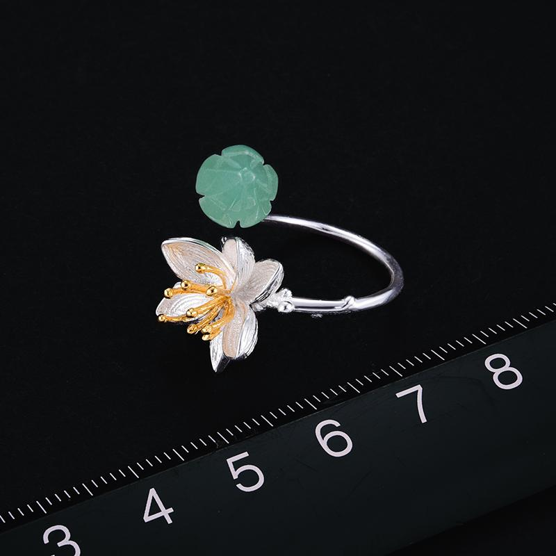 Bague sertie d'une pierre Aventurine Naturelle, sur Argent 925 Real 925 Sterling Silver Natural Aventurine Gemstones Flower Ring Fine Jewelry Lotus Whispers Rings for Women Bijoux - Honessy Premium Products