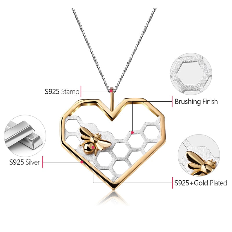 Pendentif BEE MY LOVE - Real 925 Sterling Silver Fine Jewelry Honeycomb Home Guard 18K Gold Love Heart Shape Pendant without Chain for Women