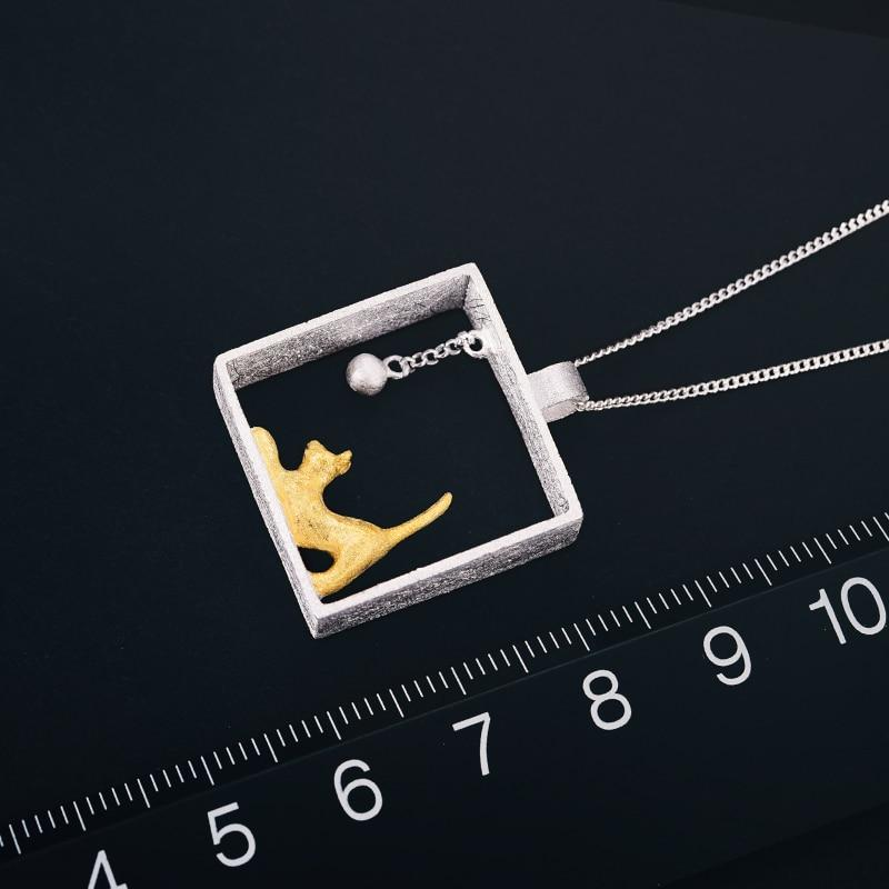 Pendentif CHAT JOUEUR - Argent - Real 925 Sterling Silver Designer Fine Jewelry 18K Gold Fashion Cat Playing Balls Pendant without Necklace for Women - Honessy