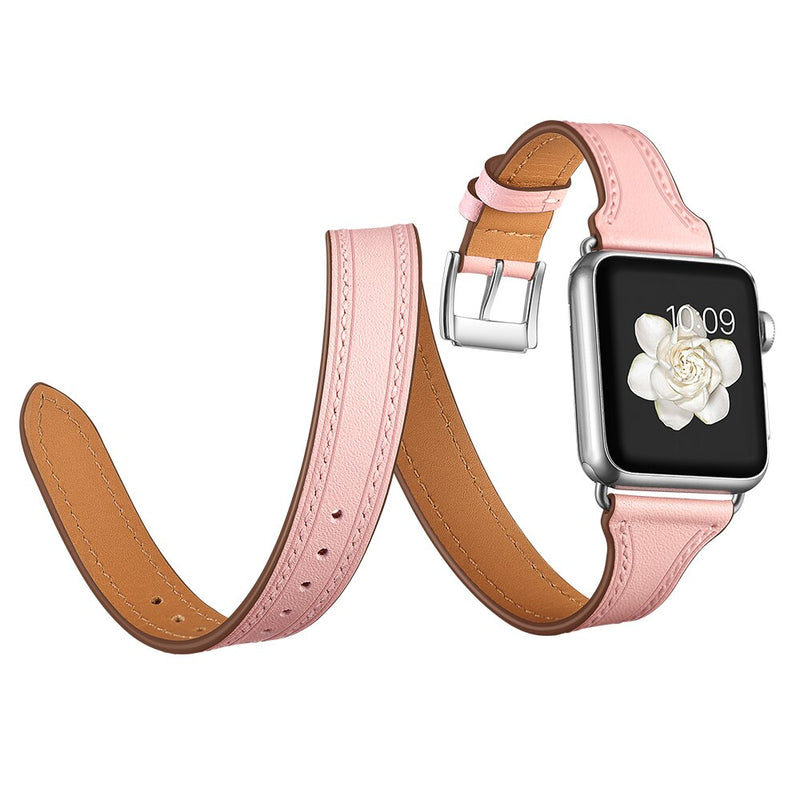 Leather strap For Apple watch band 42mm 38mm 44mm 40mm iWatch 5/4/2/3 Band Double Tour bracelet Genuine Leather watchband belt