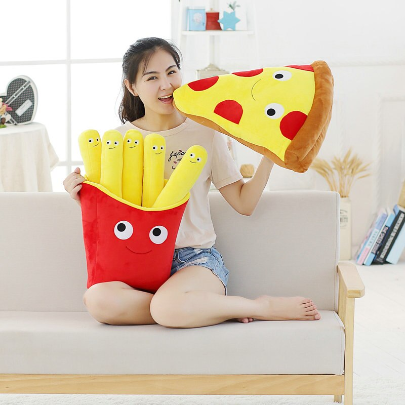 Cute artificial chips plush toys cartoon Pizza pillow cushion stuffed kids baby toy