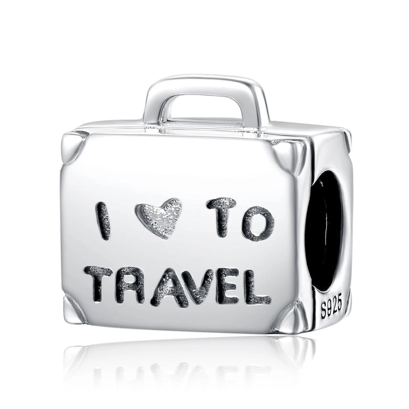 Travel Luggage 925 Sterling Silver Beads Charms Silver 925 Original Fit Bracelet Silver 925 original Jewelry Lady