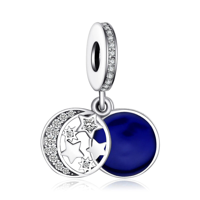 Blue Moon Star 925 Sterling Silver Bead Charms Silver 925 Original For Bracelet Silver 925 original Jewelry Making