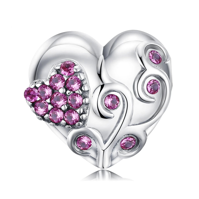 Flower Heart 925 Sterling Silver Bead Charms Silver 925 Original For Bracelet Silver 925 original Jewelry Making