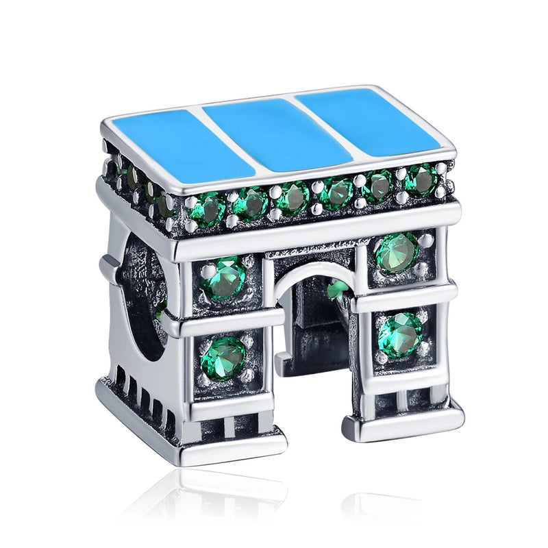 Green Cubic Zirconia Classic European Architecture Triumphal Arch Charm Bead Fit Bracelet 925 Sterling Silver