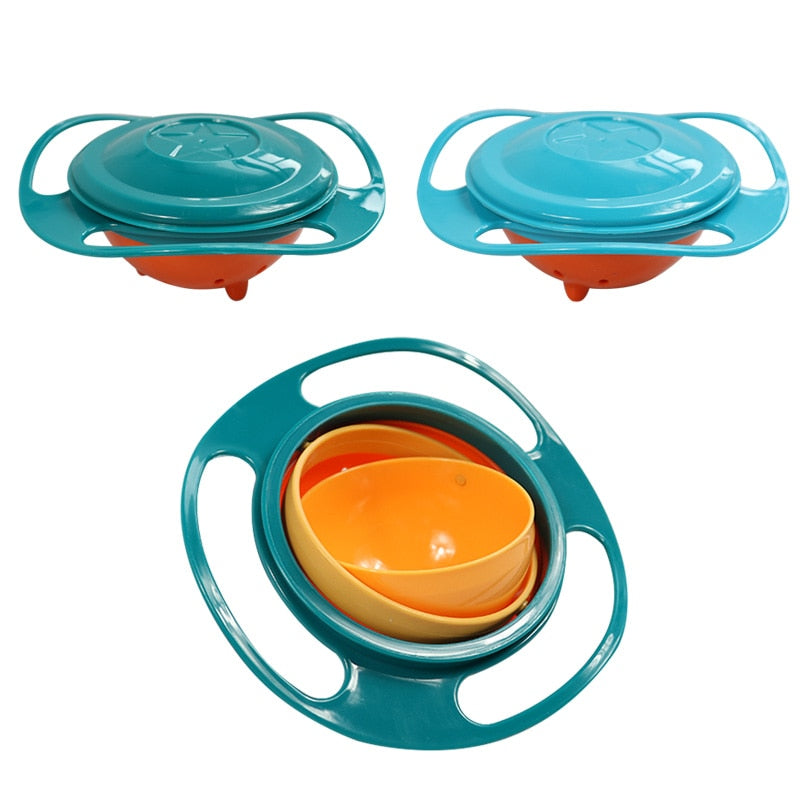 Bol Anti-reversement à 360° pour bébé sans bisphénol A (BPA) - Universal Gyro Bowl Practical Design Children Rotary Balance Bowl Novelty Gyro Umbrella Bowl 360 Rotate Spill-Proof Bow
