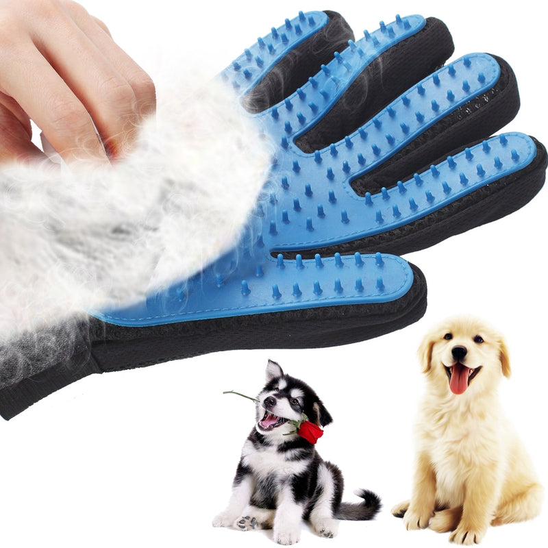 Gant de Toilettage & Massage Chien et Chat - Silicone Pet Dog brush Glove Deshedding Gentle Efficient Pet Grooming Glove Dog Bath Cat cleaning Supplies Pet Glove Hair Remove