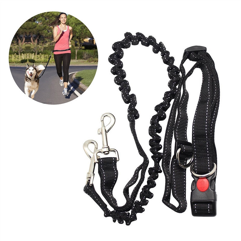 Laisse Mains Libres - Hands Free Running Dog Lead, Adjustable Waist Belt Perfect for Jogging Hiking Walking, Dog Lead Leash Bungee Harness for Running